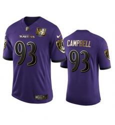 Baltimore Ravens 93 Calais Campbell Men Nike Purple Team 25th Season Golden Limited NFL Jersey