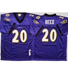 Men Baltimore Ravens 20 Ed Reed Purple M&N Throwback Jersey