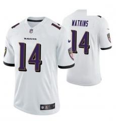 Men Baltimore Ravens Sammy Watkins 14 White Vapor Limited Jersey