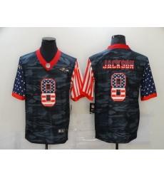 Nike Baltimore Ravens 8 Lamar Jackson Black Camo USA Flag Limited Jersey