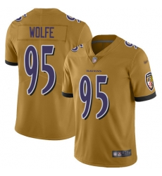 Nike Baltimore Ravens 95 Derek Wolfe Gold Men Stitched NFL Limited Inverted Legend Jersey