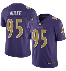 Nike Baltimore Ravens 95 Derek Wolfe Purple Men Stitched NFL Limited Rush Jersey