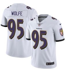 Nike Baltimore Ravens 95 Derek Wolfe White Men Stitched NFL Vapor Untouchable Limited Jersey