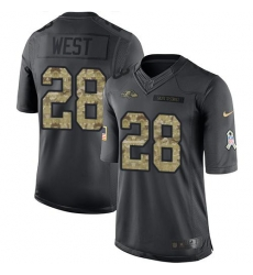 Nike Ravens #28 Terrance West Black Mens Stitched NFL Limited 2016 Salute to Service Jersey