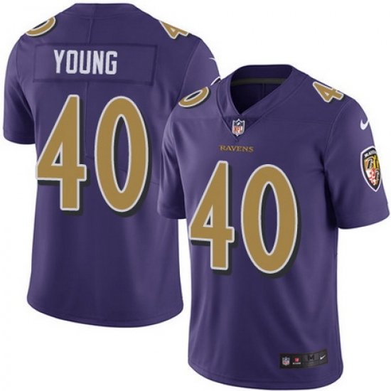 Nike Ravens #40 Kenny Young Purple Mens Stitched NFL Limited Rush ...