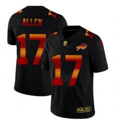 Buffalo Bills 17 Josh Allen Men Black Nike Red Orange Stripe Vapor Limited NFL Jersey