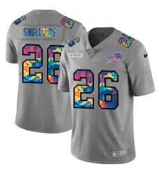 Buffalo Bills 26 Devin Singletary Men Nike Multi Color 2020 NFL Crucial Catch NFL Jersey Greyheather
