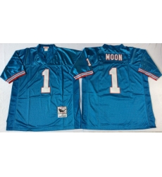 Men Oilers 1 Moon Blue M&N Throwback Jersey