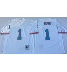 Men Oilers 1 Moon White M&N Throwback Jersey