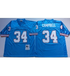 Men Oilers 34 Earl Campbell Blue M&N Throwback Jersey