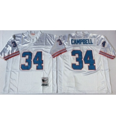 Men Oilers 34 Earl Campbell White M&N Throwback Jersey