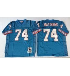 Men Oilers 74 Bruce Matthews Blue M&N Throwback Jersey