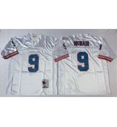 Men Oilers 9 Steve McNair White M&N Throwback Jersey
