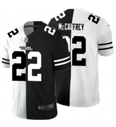 Carolina Panthers 22 Christian McCaffrey Men Black V White Peace Split Nike Vapor Untouchable Limited NFL Jersey