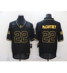 Nike Carolina Panthers 22 Christian McCaffrey Black Gold 2020 Salute To Service Limited Jersey