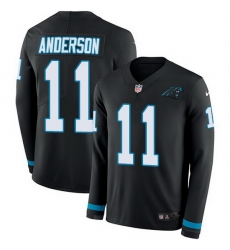 Nike Panthers 11 Robby Anderson Black Team Color Men Stitched NFL Limited Therma Long Sleeve Jersey