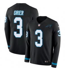 Nike Panthers 3 Will Grier Black Team Color Men Stitched NFL Limited Therma Long Sleeve Jersey