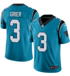 Nike Panthers 3 Will Grier Blue Men Stitched NFL Limited Rush Jersey