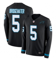 Nike Panthers 5 Teddy Bridgewater Black Team Color Men Stitched NFL Limited Therma Long Sleeve Jersey