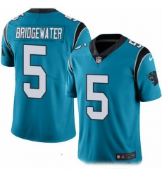 Nike Panthers 5 Teddy Bridgewater Blue Men Stitched NFL Limited Rush Jersey