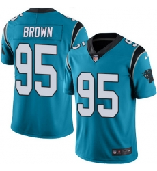 Nike Panthers 95 Derrick Brown Blue Men Stitched NFL Limited Rush Jersey