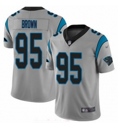Nike Panthers 95 Derrick Brown Silver Men Stitched NFL Limited Inverted Legend Jersey