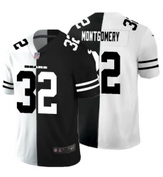 Chicago Bears 32 David Montgomery Men Black V White Peace Split Nike Vapor Untouchable Limited NFL Jersey