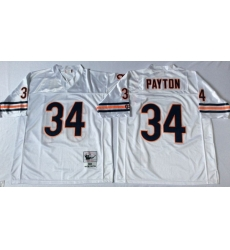 Men Chicago Bears 34 Walter Payton White M&N Road Throwback Jersey