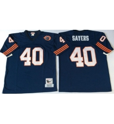 Men Chicago Bears 40 Gale Sayers Navy M&N Throwback Jersey