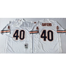 Men Chicago Bears 40 Gale Sayers White M&N Road Throwback Jersey