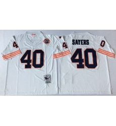 Men Chicago Bears 40 Gale Sayers White M&N Throwback Jersey