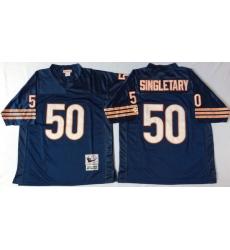 Men Chicago Bears 50 Mike Singletary Navy M&N Throwback Jersey