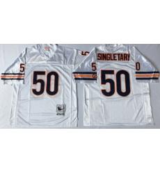Men Chicago Bears 50 Mike Singletary White M&N Road Throwback Jersey