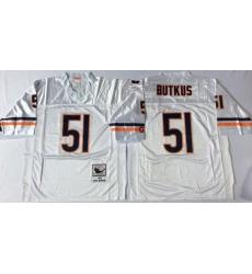 Men Chicago Bears 51 Dick Butkus White M&N Road Throwback Jersey