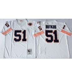 Men Chicago Bears 51 Dick Butkus White M&N Throwback Jersey