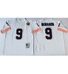 Men Chicago Bears 9 Jim McMahon White M&N Throwback Jersey