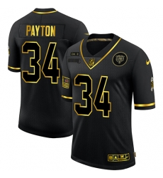 Nike Chicago Bears 34 Walter Payton Black Gold 2020 Salute To Service Limited Jersey
