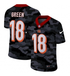 Cincinnati Bengals 18 A J  Green Men Nike 2020 Black CAMO Vapor Untouchable Limited Stitched NFL Jersey