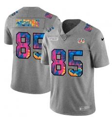 Cincinnati Bengals 85 Tee Higgins Men Nike Multi Color 2020 NFL Crucial Catch NFL Jersey Greyheather