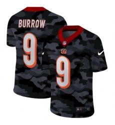 Cincinnati Bengals 9 Joe Burrow Men Nike 2020 Black CAMO Vapor Untouchable Limited Stitched NFL Jersey
