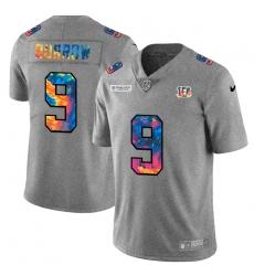 Cincinnati Bengals 9 Joe Burrow Men Nike Multi Color 2020 NFL Crucial Catch NFL Jersey Greyheather