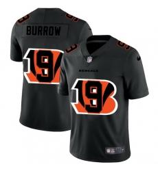 Cincinnati Bengals 9 Joe Burrow Men Nike Team Logo Dual Overlap Limited NFL Jersey Black
