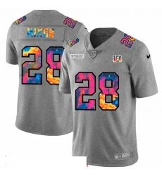 Men Cincinnati Bengals 28 Joe Mixon Men Nike Multi Color 2020 NFL Crucial Catch NFL Jersey Greyheather