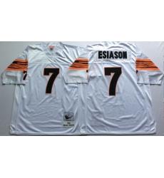 Men Cincinnati Bengals 7 Boomer Esiason White M&N Throwback Jersey
