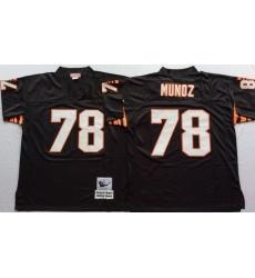 Men Cincinnati Bengals 78 Anthony Munoz Black M&N Throwback Jersey