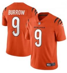 Men Nike Cincinnati Bengals 9 Joe Burrow Orange Vapor Limited Jersey