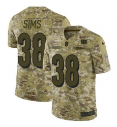 Nike Bengals 38 LeShaun Sims Camo Men Stitched NFL Limited 2018 Salute To Service Jersey