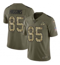 Nike Bengals 85 Tee Higgins Olive Camo Men Stitched NFL Limited 2017 Salute To Service Jersey