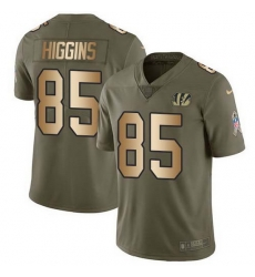 Nike Bengals 85 Tee Higgins Olive Gold Men Stitched NFL Limited 2017 Salute To Service Jersey