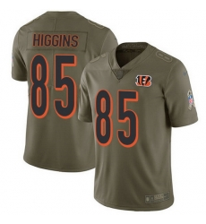 Nike Bengals 85 Tee Higgins Olive Men Stitched NFL Limited 2017 Salute To Service Jersey